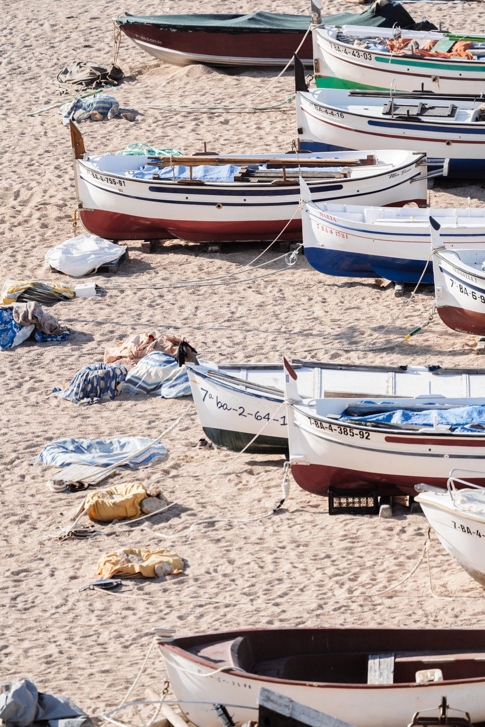 Wooden boats beached on the sand
