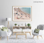 Pastel color beach goers swimming in a natural fine art frame