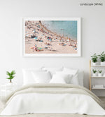 Pastel color beach goers swimming in a white fine art frame