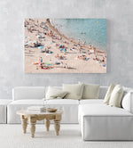 Pastel color beach goers swimming in an acrylic/perspex frame