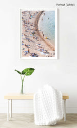 Curved sea along crowded Tossa de Mar beach in a white fine art frame