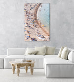 Curved sea along crowded Tossa de Mar beach in an acrylic/perspex frame