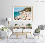 Packed beach along Costa Brava in a natural fine art frame