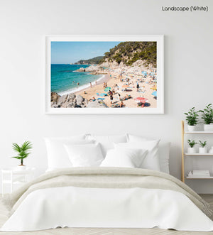 Packed beach along Costa Brava in a white fine art frame