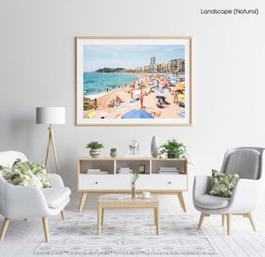 Very busy Lloret de Mar beach on summers day in June in a natural fine art frame