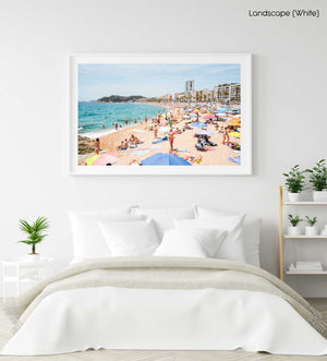 Very busy Lloret de Mar beach on summers day in June in a white fine art frame