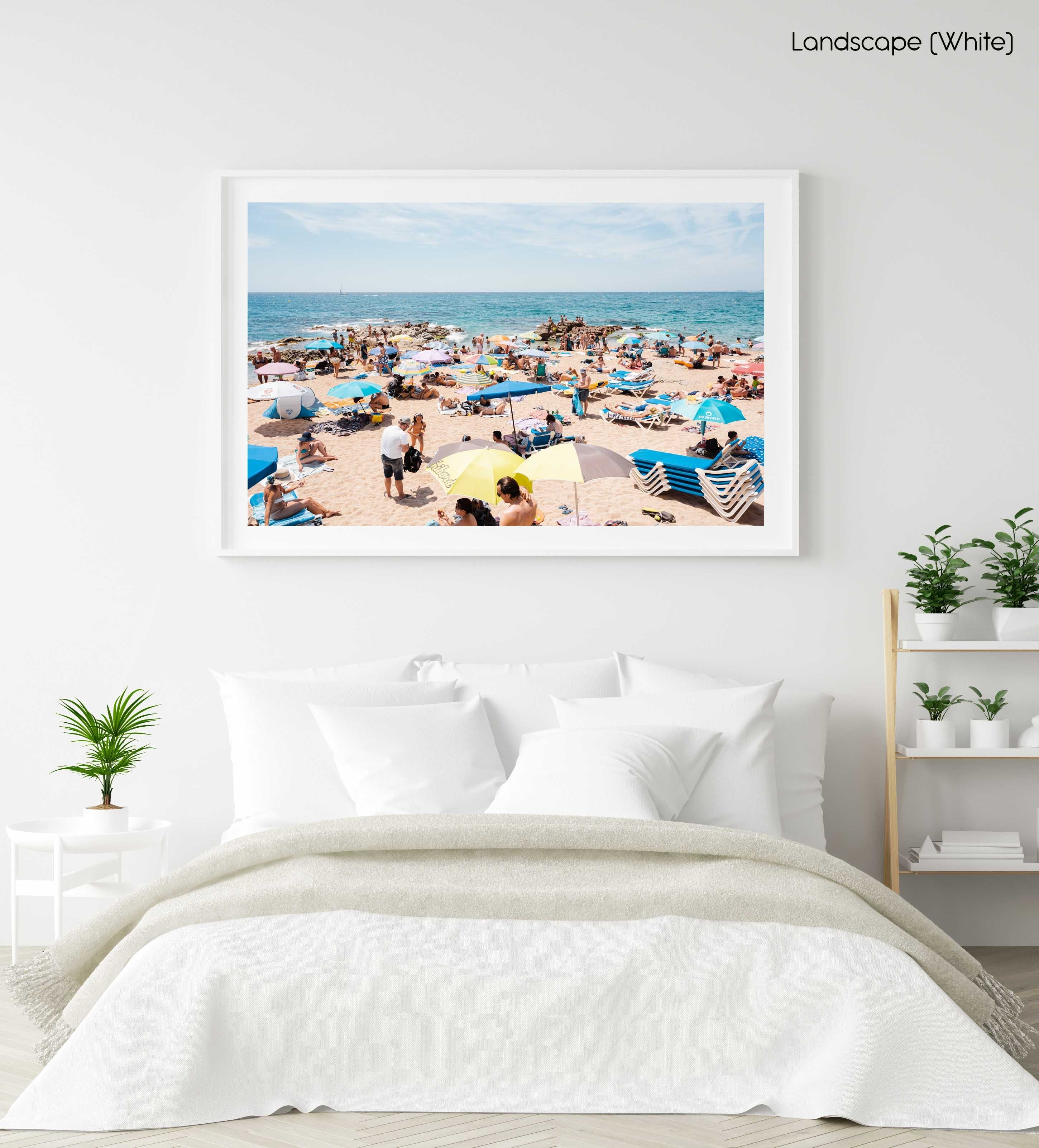 Lloret de Mar beach full of people and umbrellas in a white fine art frame