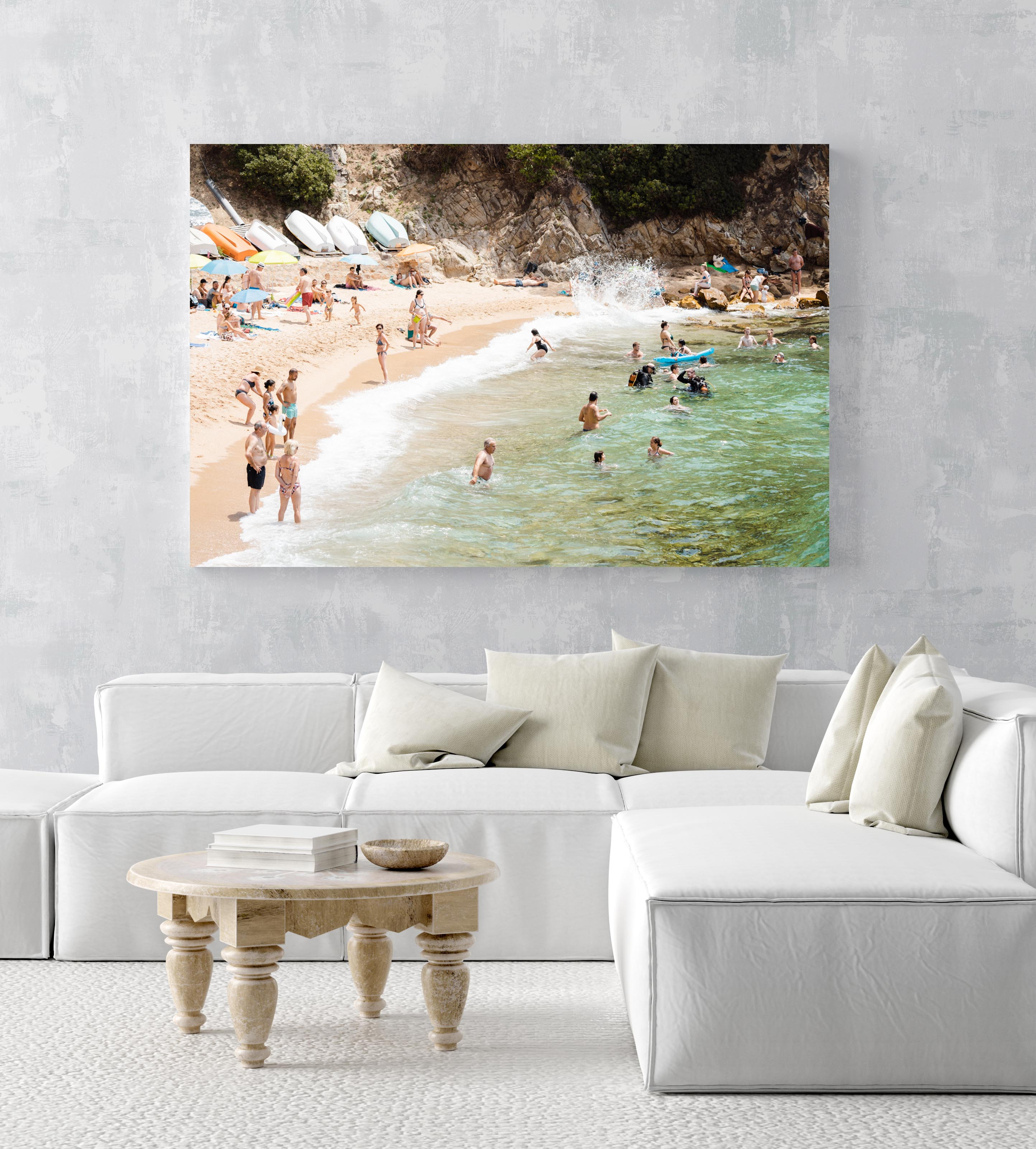 Swimmers, divers and people lying at beach with green water and colorful boats in an acrylic/perspex frame