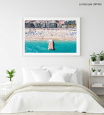 Big boat parked off on Lloret de Mar beach from above in a white fine art frame