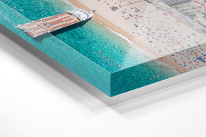 Big boat parked off on Lloret de Mar beach from above in an acrylic/perspex frame