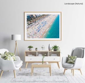 Lloret de Mar beach, palm trees and the main road from above in a natural fine art frame