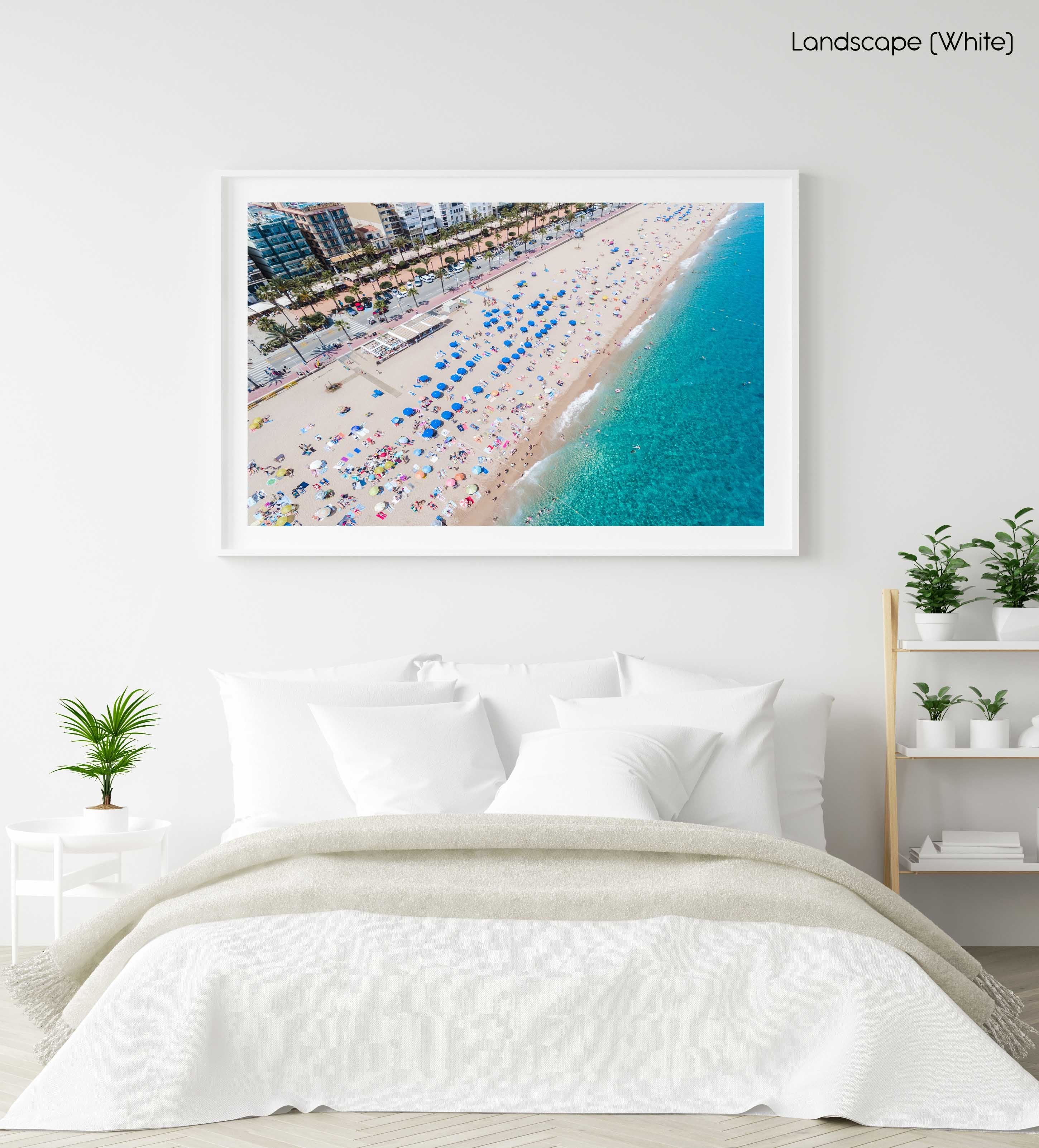 Lloret de Mar beach, palm trees and the main road from above in a white fine art frame