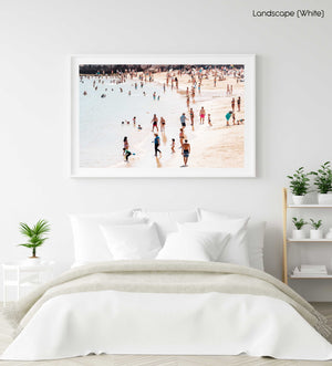 People playing and swimming on Cascais beach Portugal in a white fine art frame