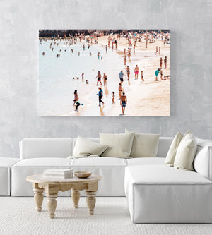 People playing and swimming on Cascais beach Portugal in an acrylic/perspex frame