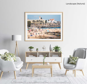 Beach scene along Cascais coast in a natural fine art frame