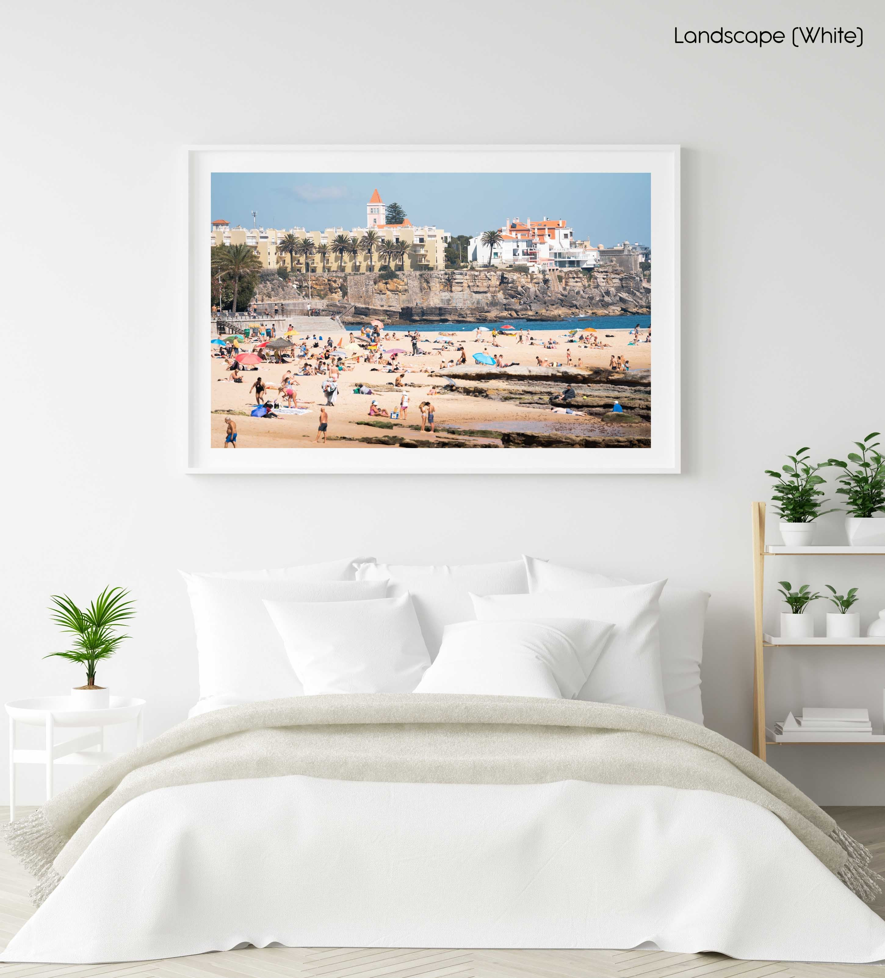 Beach scene along Cascais coast in a white fine art frame