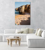 Shadows, cliffs and people on Praia Dona Ana in Lagos from above in an acrylic/perspex frame