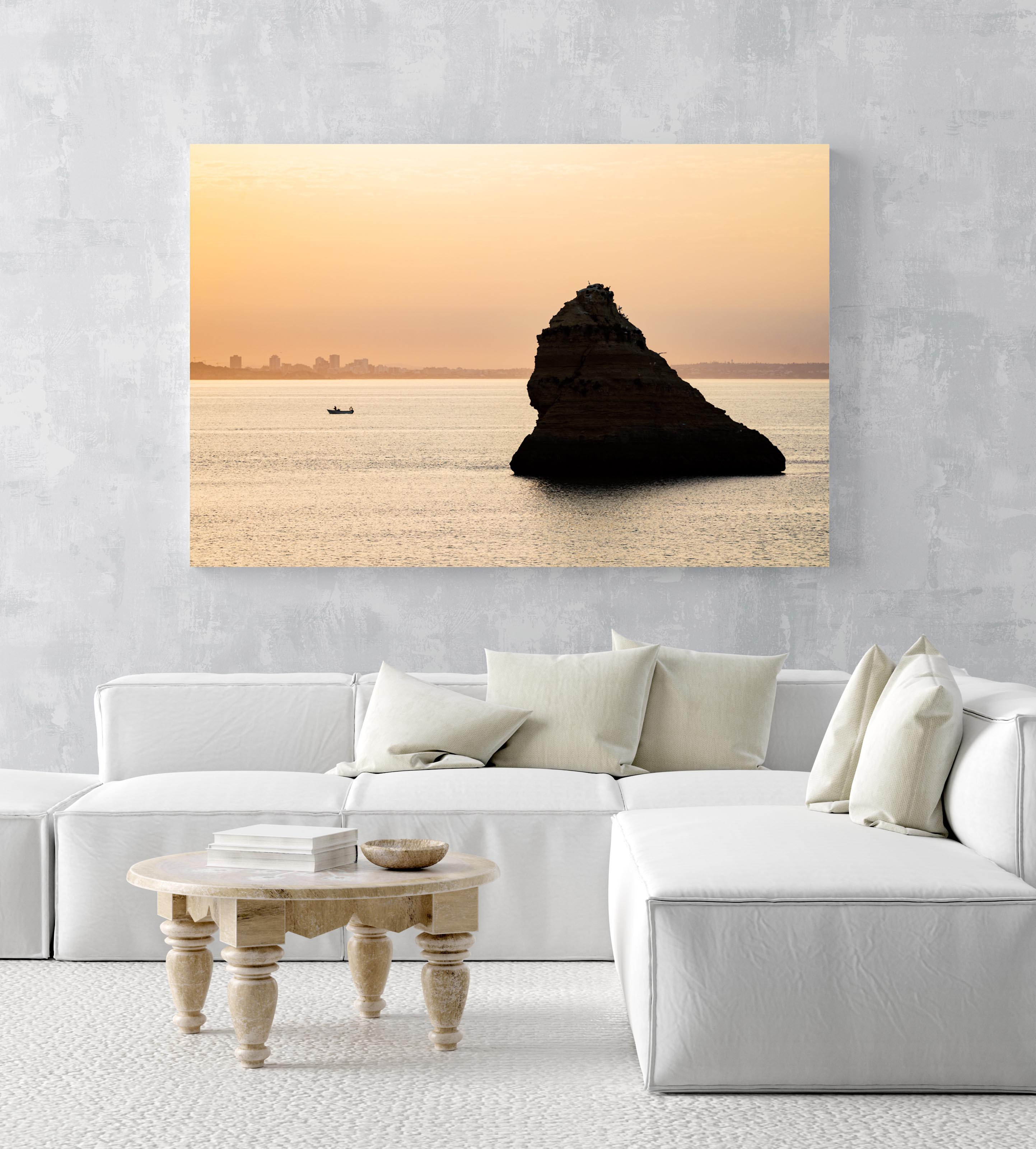 Large boulder and a fishing boat during Lagos sunrise in an acrylic/perspex frame