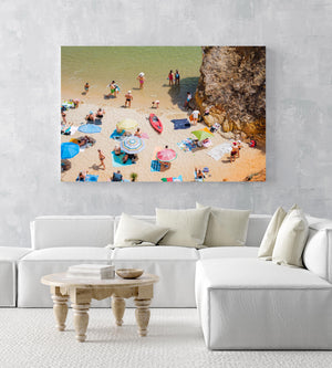 Red kayak, umbrellas and people on summers day on sand of Camilo beach Lagos in an acrylic/perspex frame