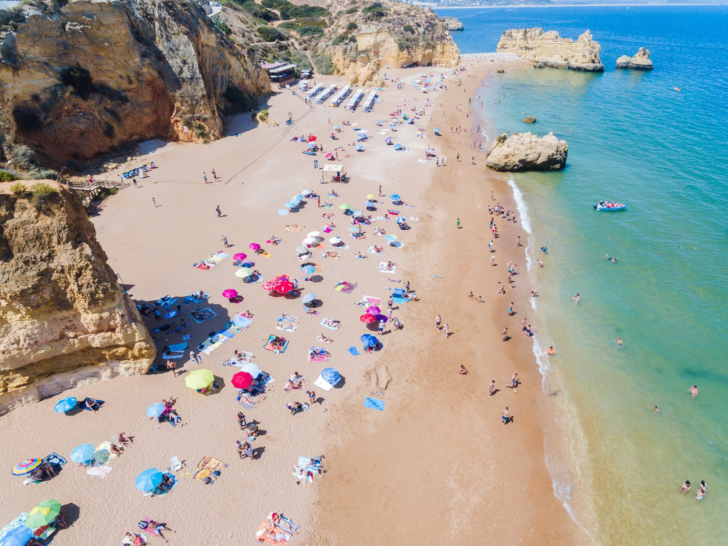 Aerial of Praia Dona Ana in Lagos