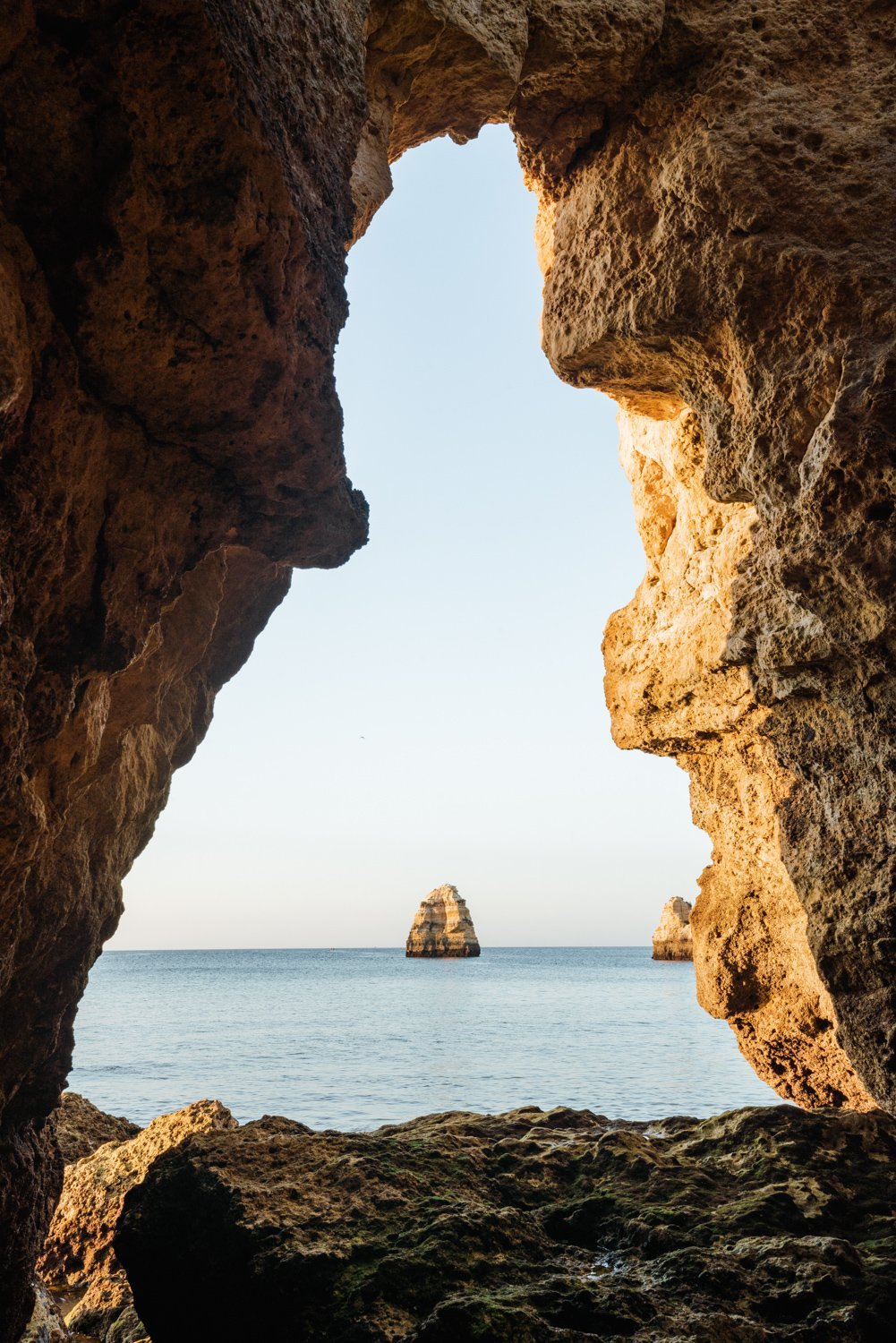 View out of a grotto in Lagos out to sea and cliff