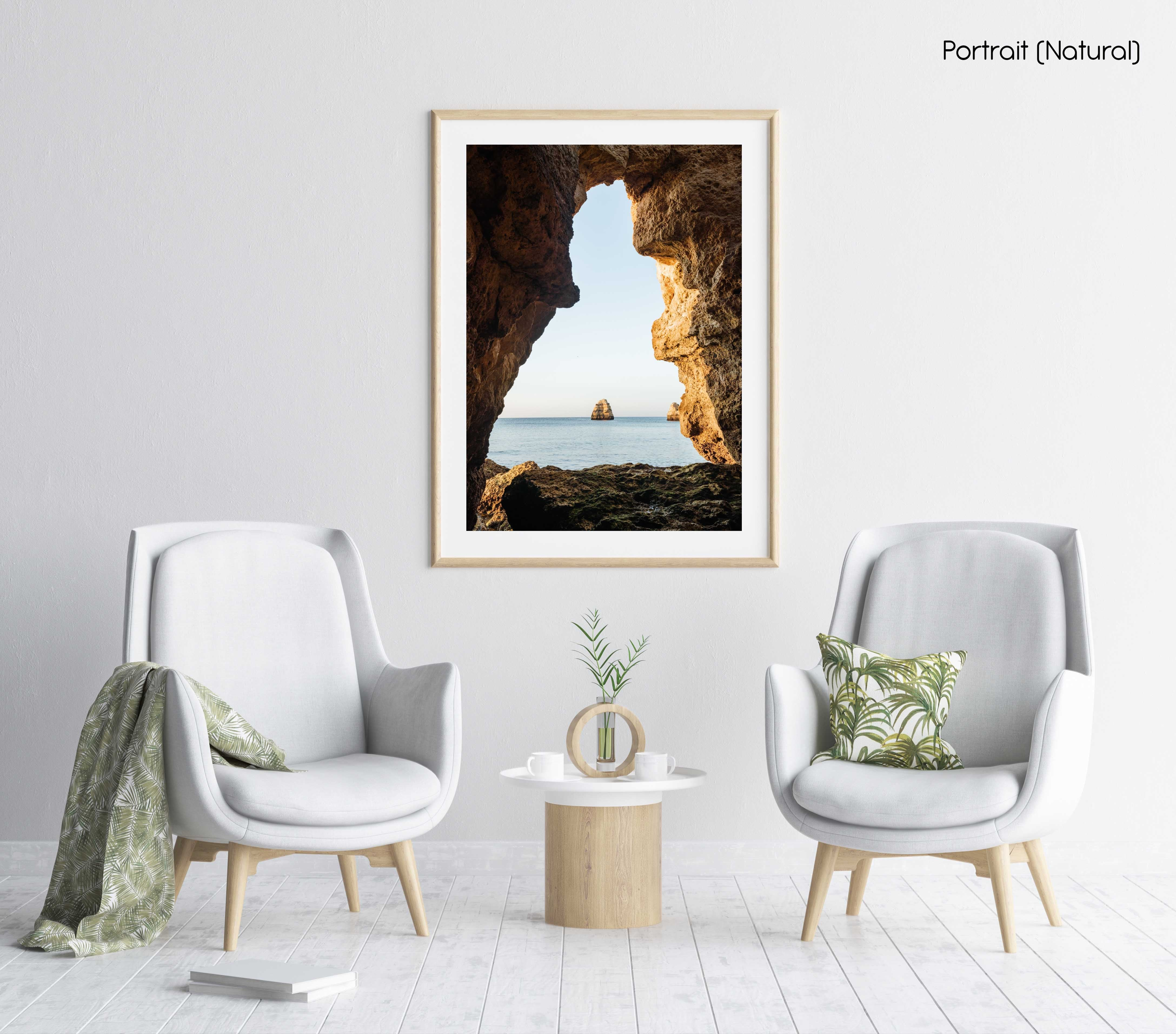 View out of a grotto in Lagos out to sea and cliff in a natural fine art frame