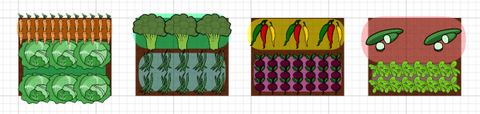 Raised vegetable bed layout