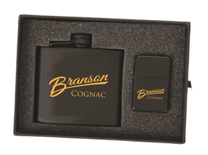 Branson Flask/Lighter Gift Set