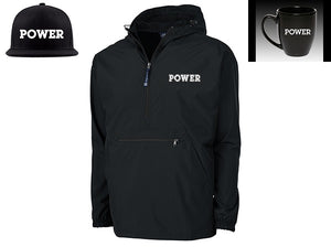 """POWER"" Limited Edition Bundle:  POWER Rain Jacket + POWER Snapback Hat + POWER Bistro Mug"