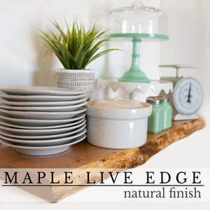 Maple Live Edge Floating Shelf with Hidden Bracket - Ultra Shelf