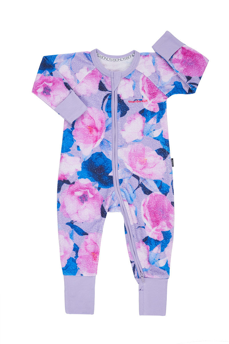 Bonds Poodlette Zip Wondersuit - Digi Bloom Lilac Ice