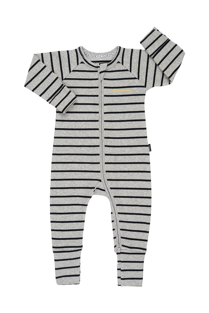 Ribbed Zip Wondersuit - New Grey Marle & Black