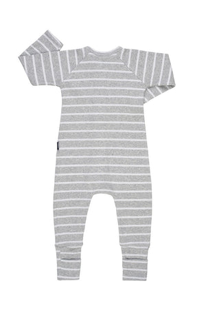 Ribbed Zip Wondersuit - New Grey Marle & White