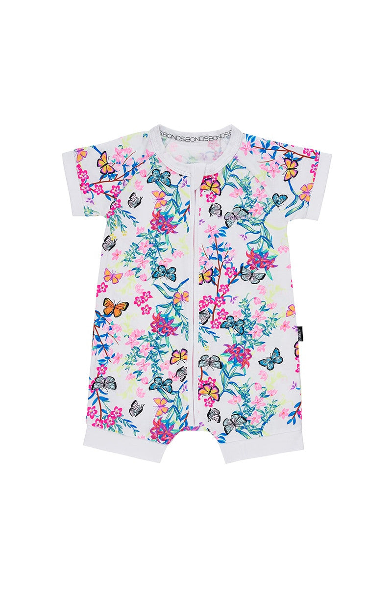 Bonds Zip Romper - Blossoming Butterflies White