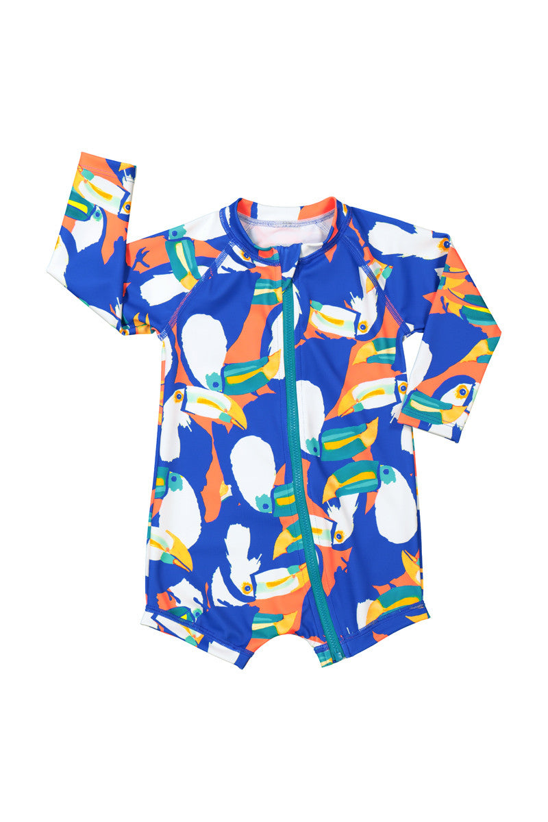 Baby Swim Long Sleeve Zip Suit - Talking Toucans