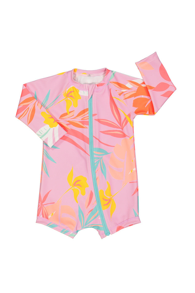 Baby Swim Long Sleeve Zip Suit - Pink Tropics