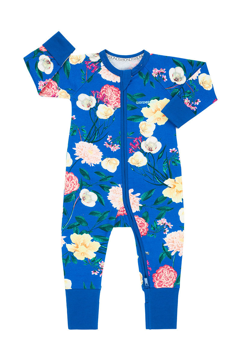 Bonds Zip Wondersuits - Disco Flora Blue