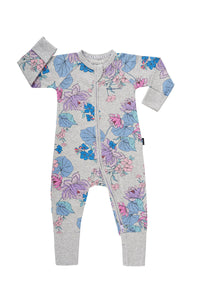 Bonds Zip Wondersuit - Floral Love New Grey Marle