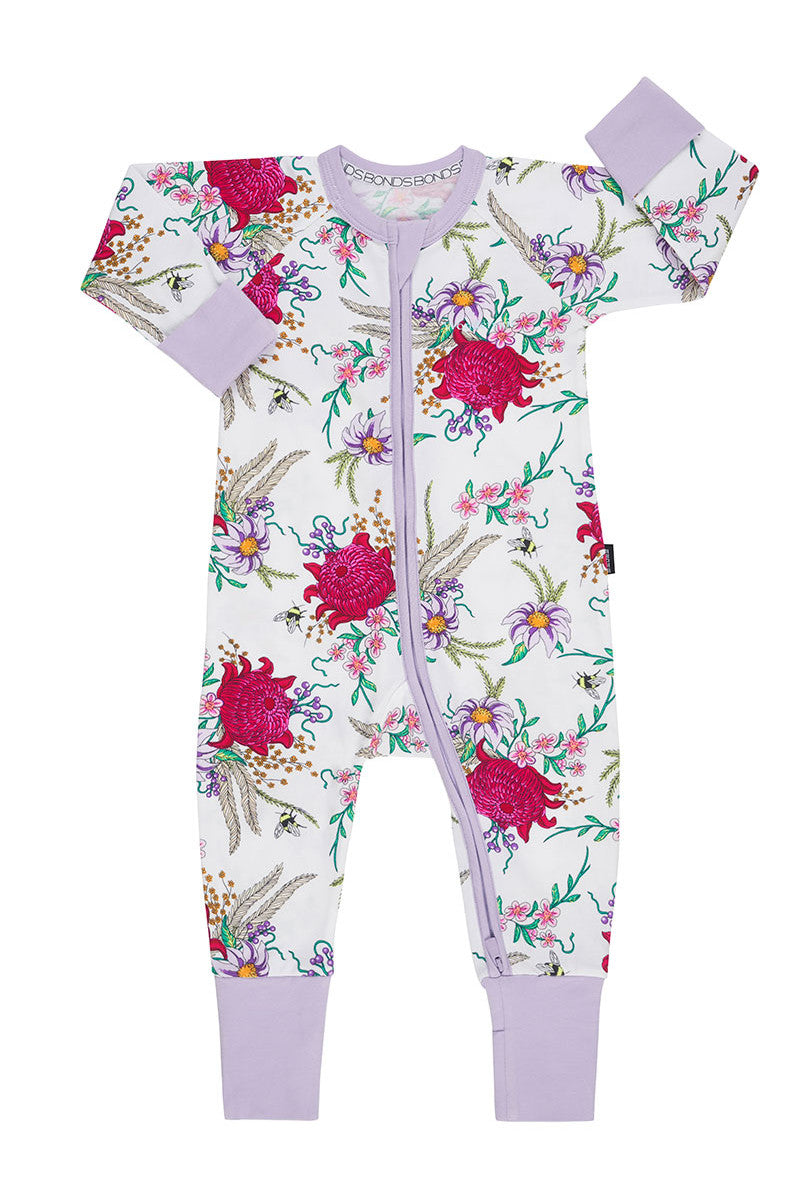Bonds Zip Wondersuit - Backyard Blooms White