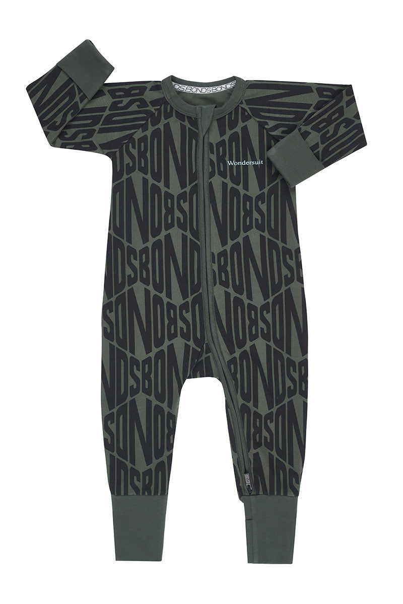 Bonds Zip Wondersuit - Bonds Diamond Logo Green