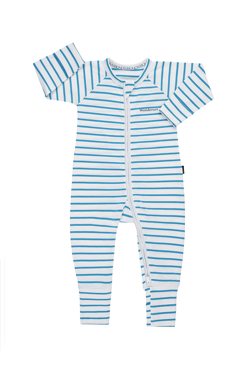 Bonds Zip Wondersuit - White & Cotton Miami Teal