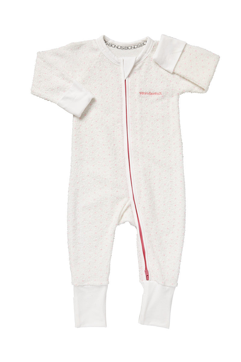Bonds Poodlette Zip Wondersuit - White & Hyper Bloom Spot