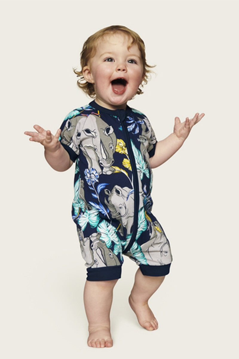 Bonds Zip Romper - Ron the Rhino Black Sea