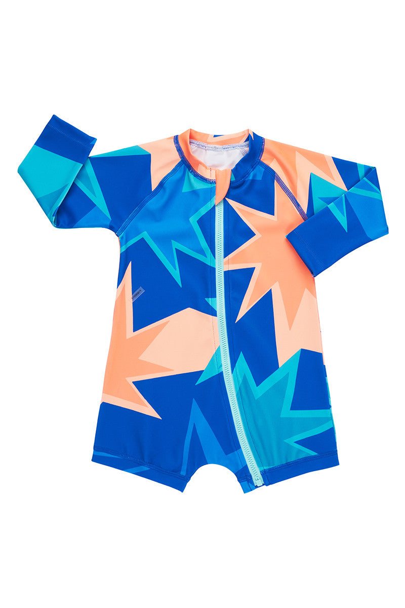 Baby Swim Long Sleeve Zip Suit - Dazzling Fireworks