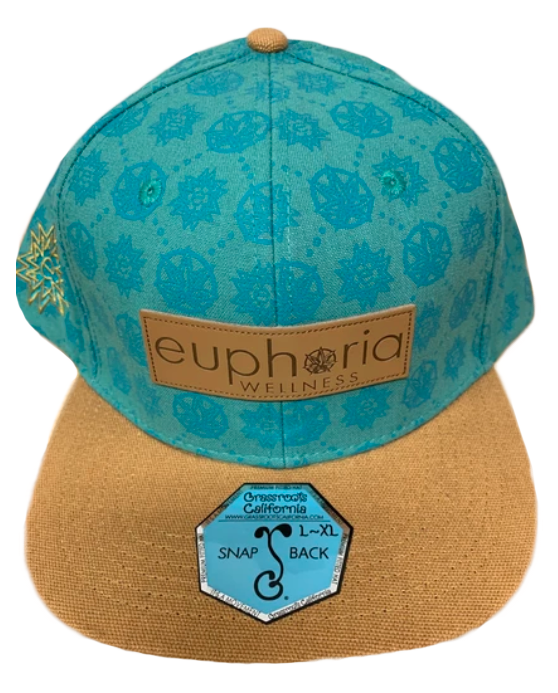 Teal With Leather Patch Euphoria Wellness Hat