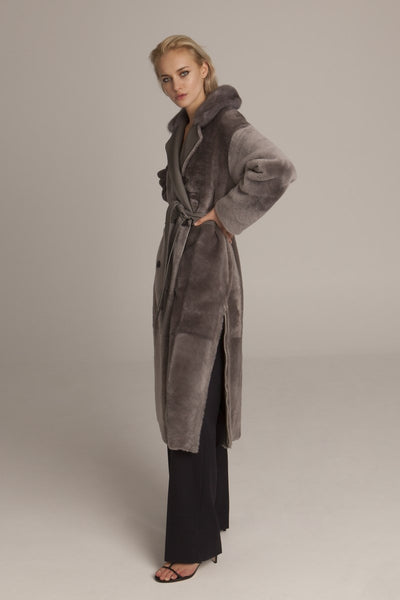 shearling coat mink collar