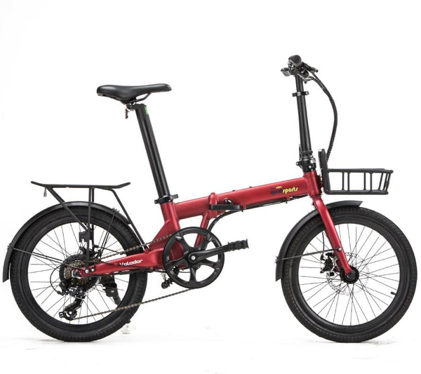 Qualisports Red Volador model unfolded with a basket and rear rack