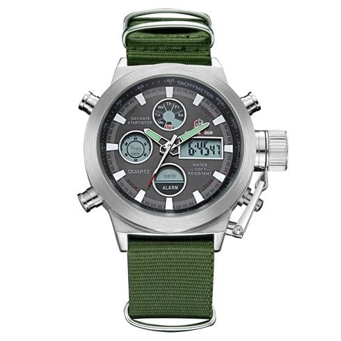 Army Green Silver And Black Chronograph For Men