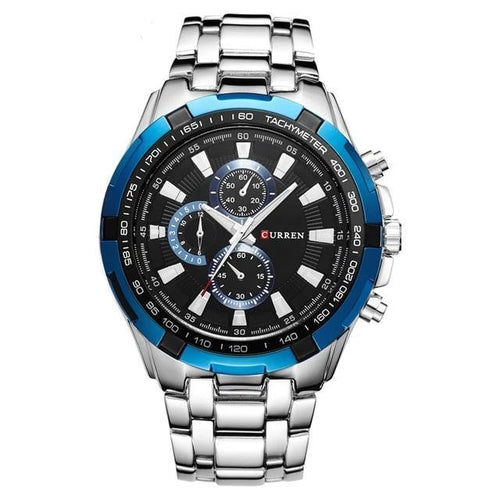 Big Dial Steel Watch For Men Silver Blue