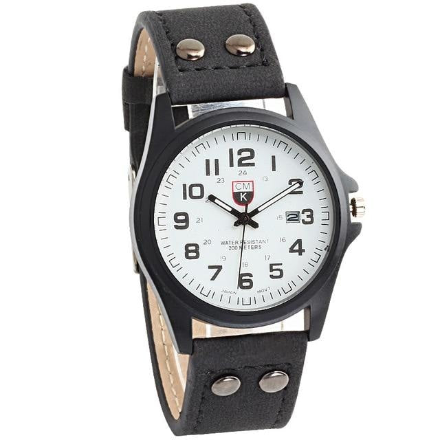 Buttoned Leather Slim Casual Mens Watch Black And White